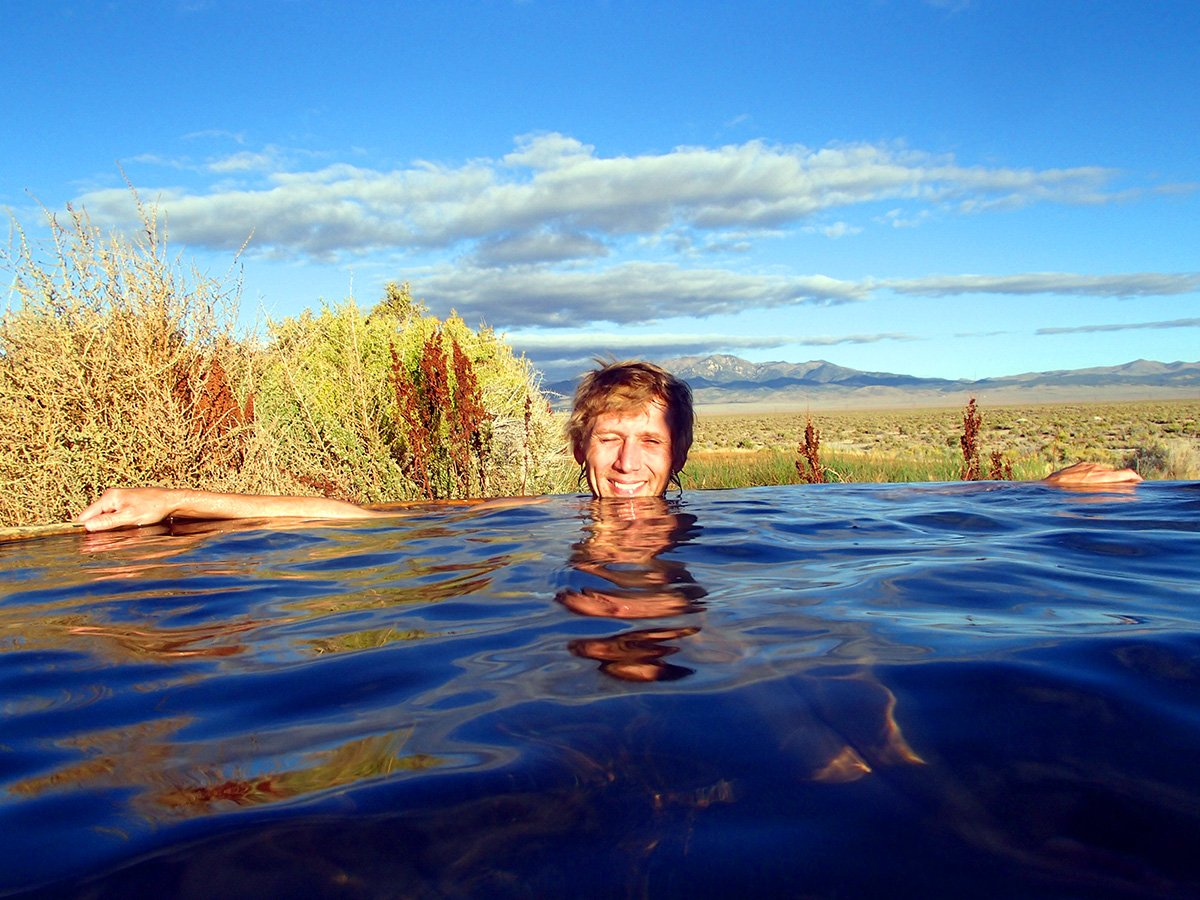 Troy Relaxing in Spencer Hot Springs